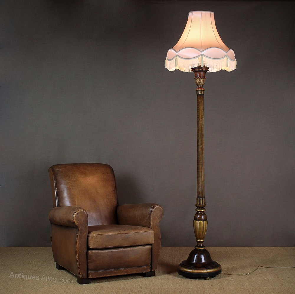 Antiques Atlas Large Walnut Standard Lamp C1930 pertaining to proportions 1000 X 999
