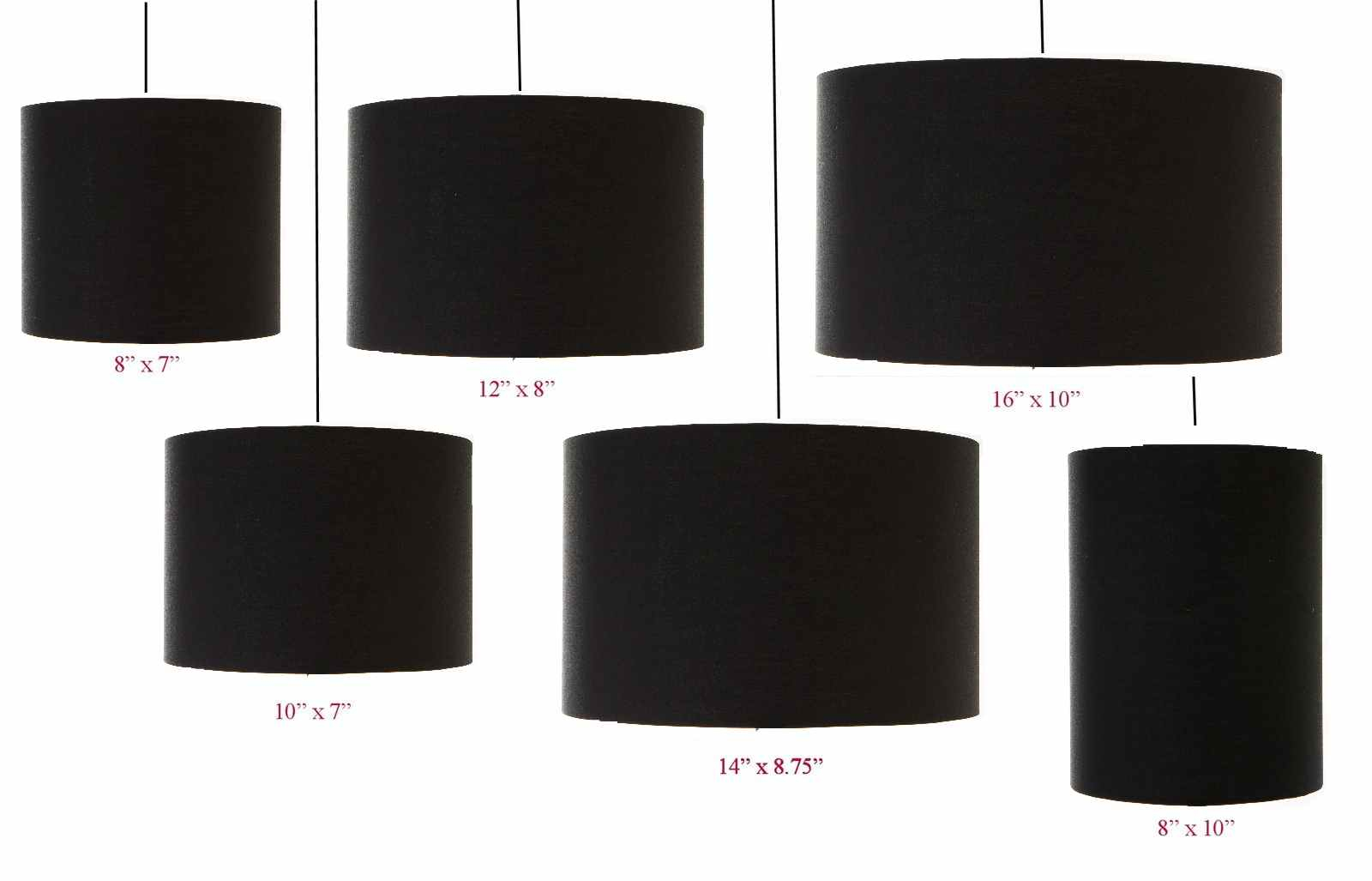 Black Drum Cylinder Lampshade 20cm 25cm 30cm 35cm 40cm 45cm For Sizing 1600 X 1027