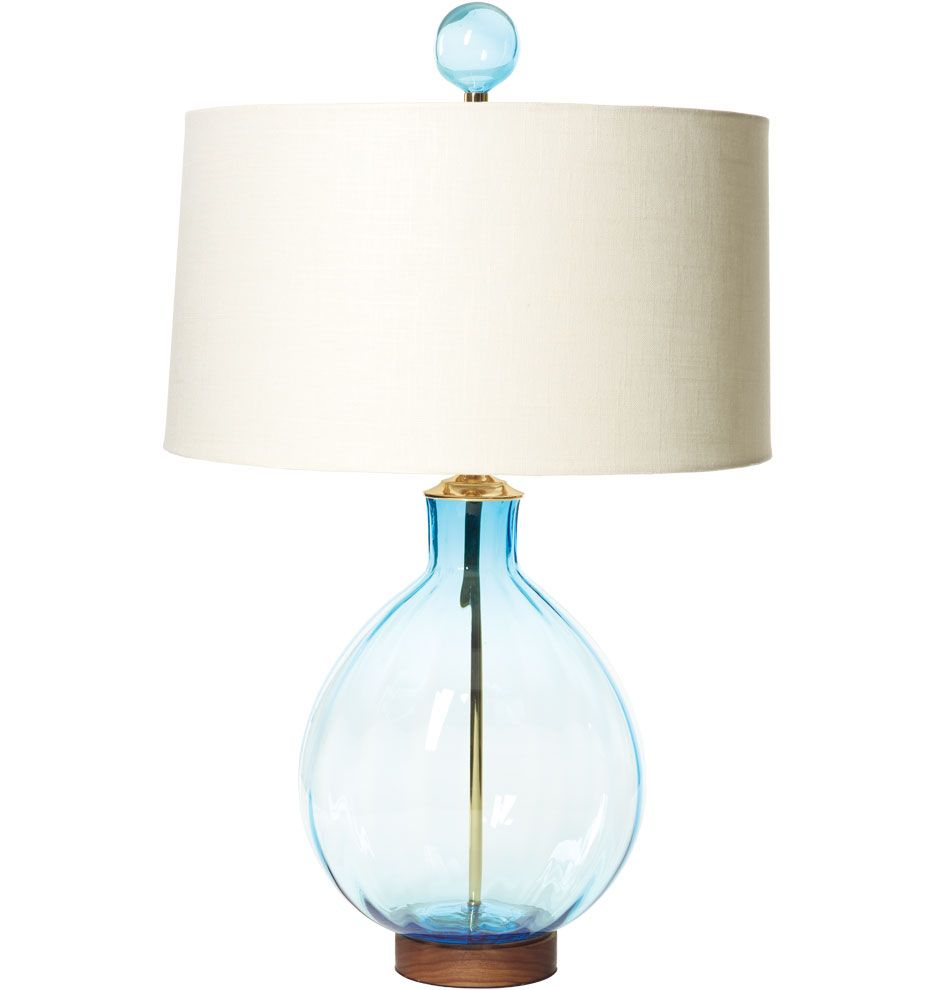 Blenko Mid Century Style Ice Blue Round Table Lamp Handblown Glass inside proportions 936 X 990