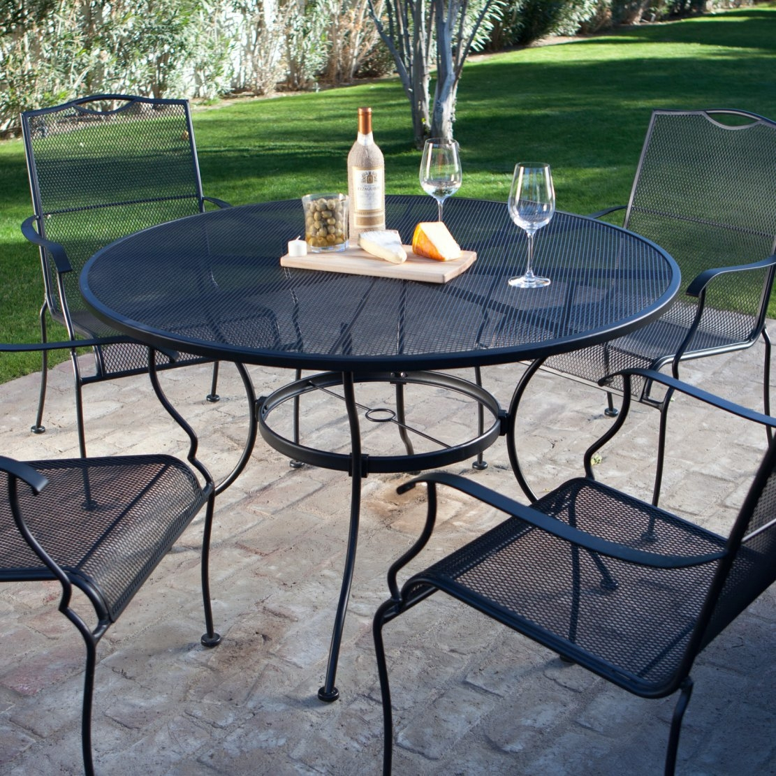 5 Piece Wrought Iron Patio Furniture Dining Set Seats 4 Best intended for size 1111 X 1111
