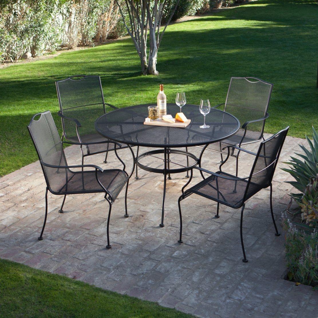5 Piece Wrought Iron Patio Furniture Dining Set Seats 4 regarding dimensions 1111 X 1111