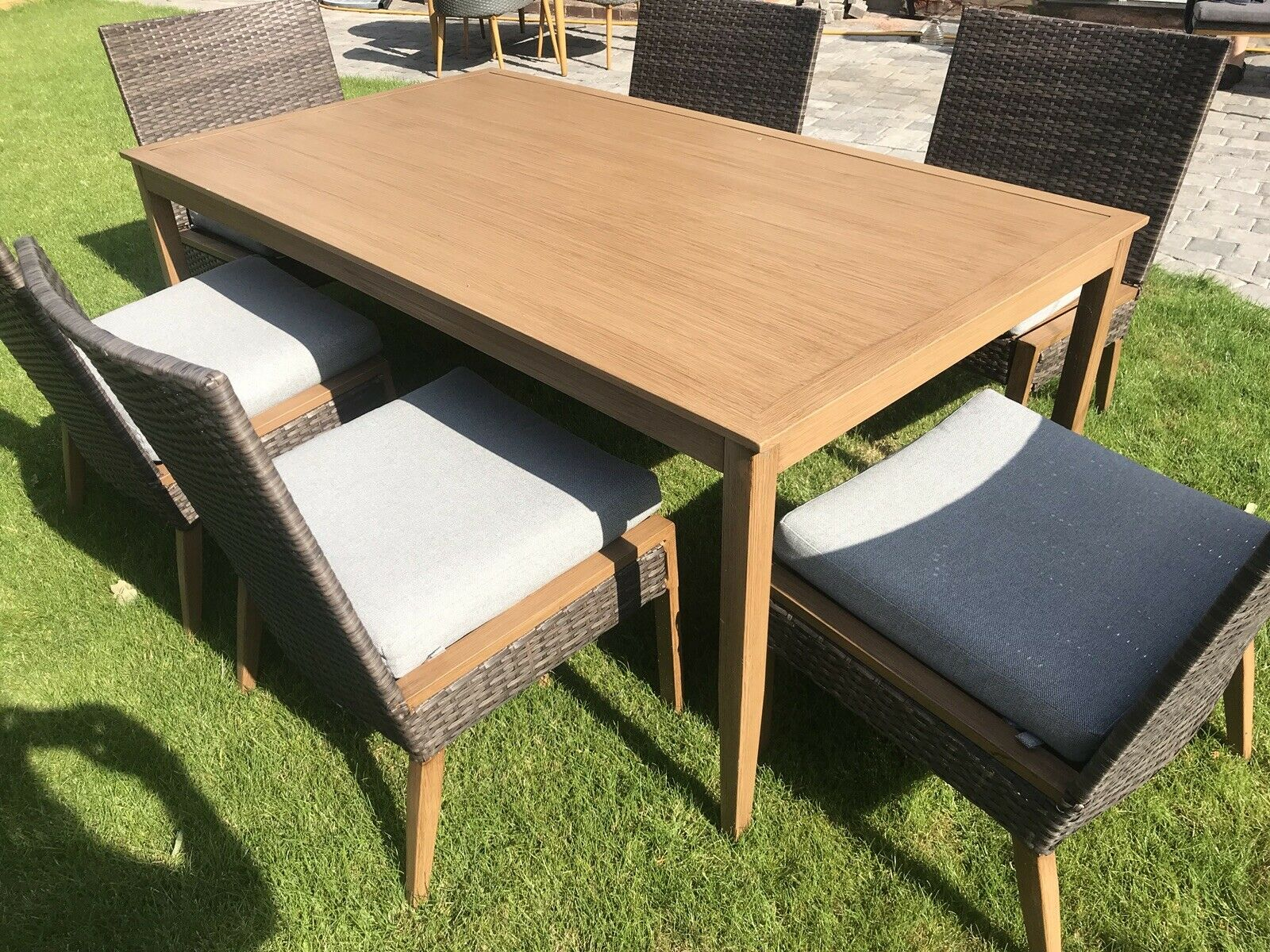 6 Seater Patio Dining Set Outdoor Garden Furniture Table And Chairs With Cushion in proportions 1600 X 1200