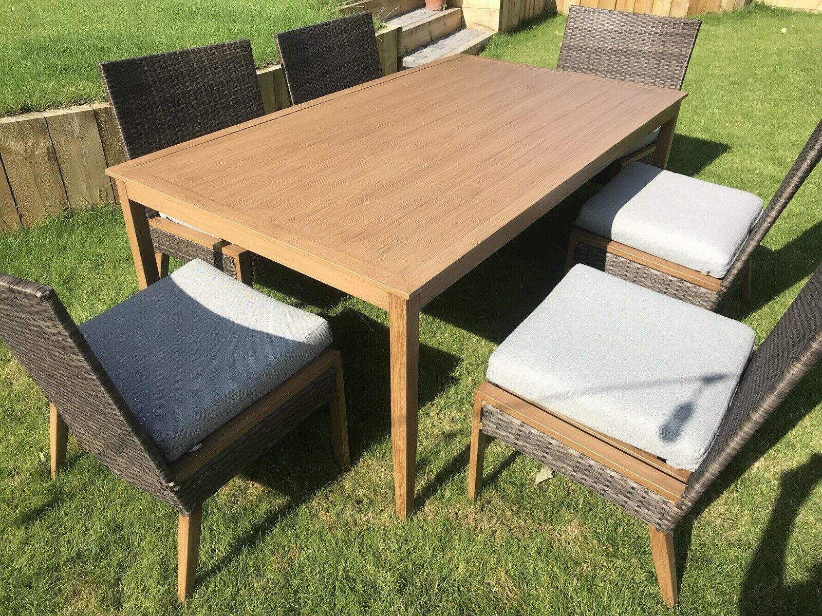6 Seater Patio Dining Set Outdoor Garden Furniture Table And Chairs With Cushion throughout measurements 1600 X 1200