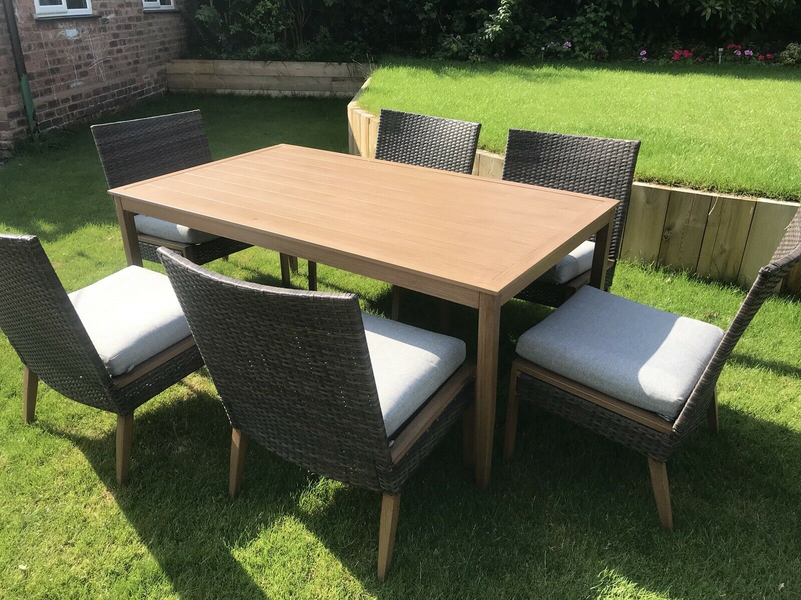 6 Seater Patio Dining Set Outdoor Garden Furniture Table And Chairs With Cushion with proportions 1600 X 1200