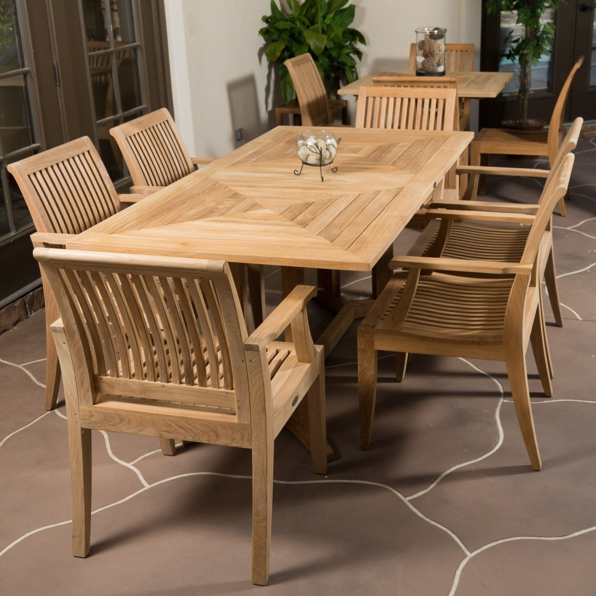 7 Pc Pyramid Teak Patio Set In 2019 Modern Patio Furniture in dimensions 1200 X 1200