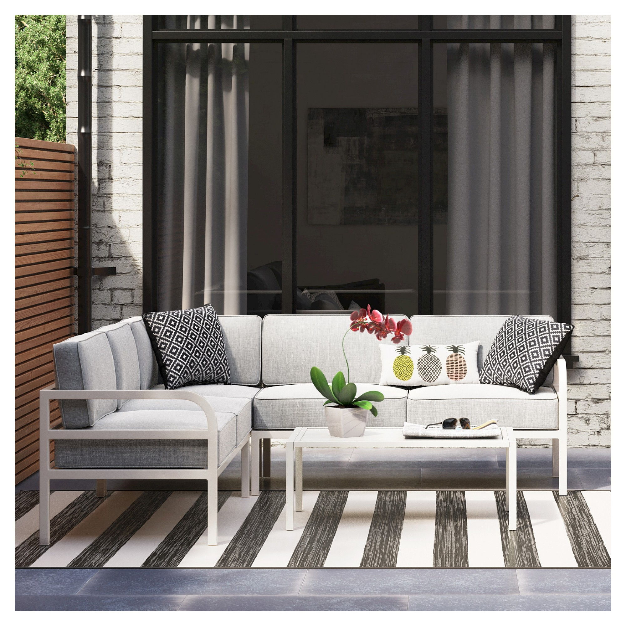 Beacon Hill 3pc Metal Outdoor Patio Conversation Set intended for proportions 2000 X 2000