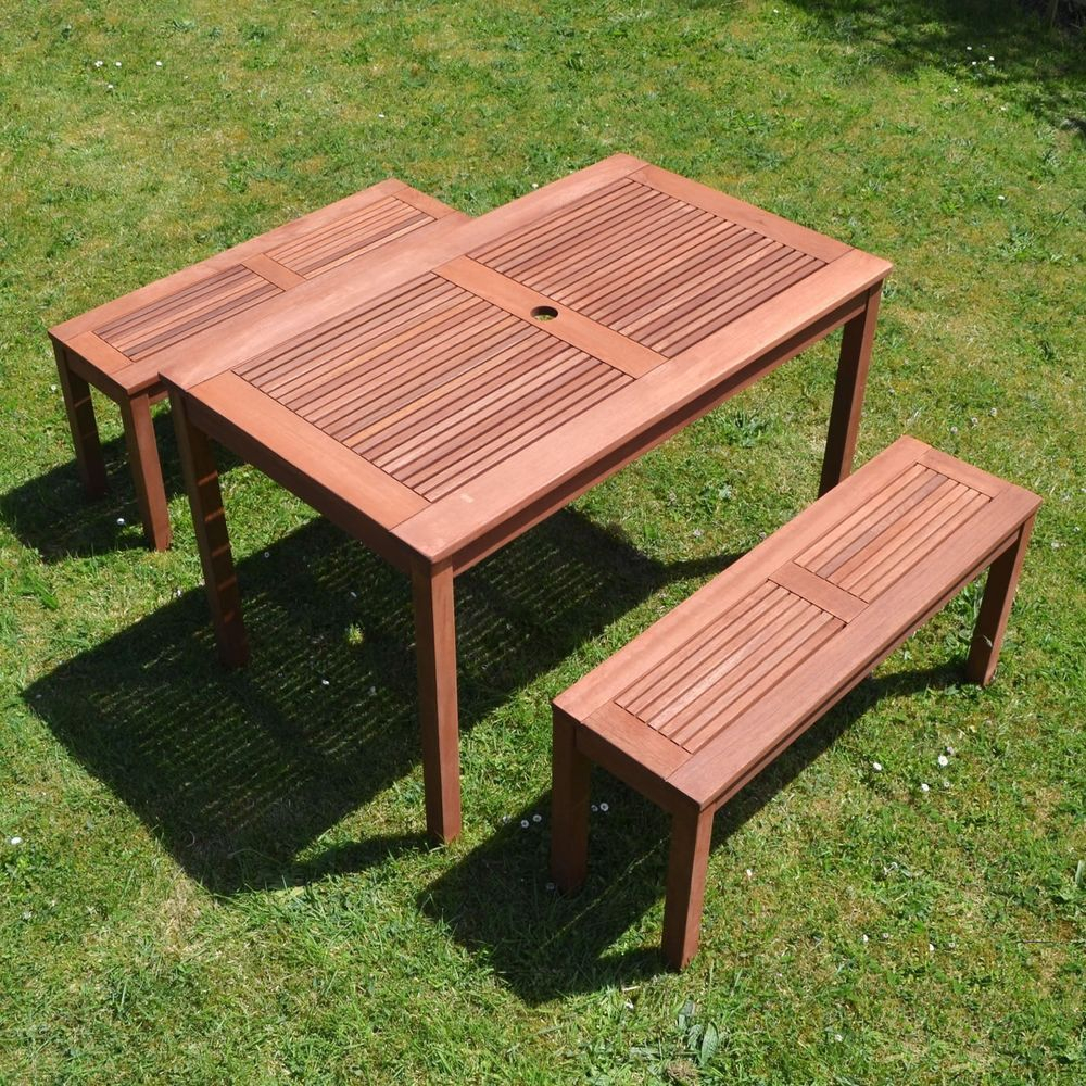 Bench Seat Set 4 Seater Wooden Brown Rectangular Table in measurements 1000 X 1000