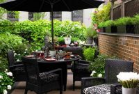 Black Wicker Outdoor Patio Furniture With Umbrella For Small intended for sizing 889 X 1024