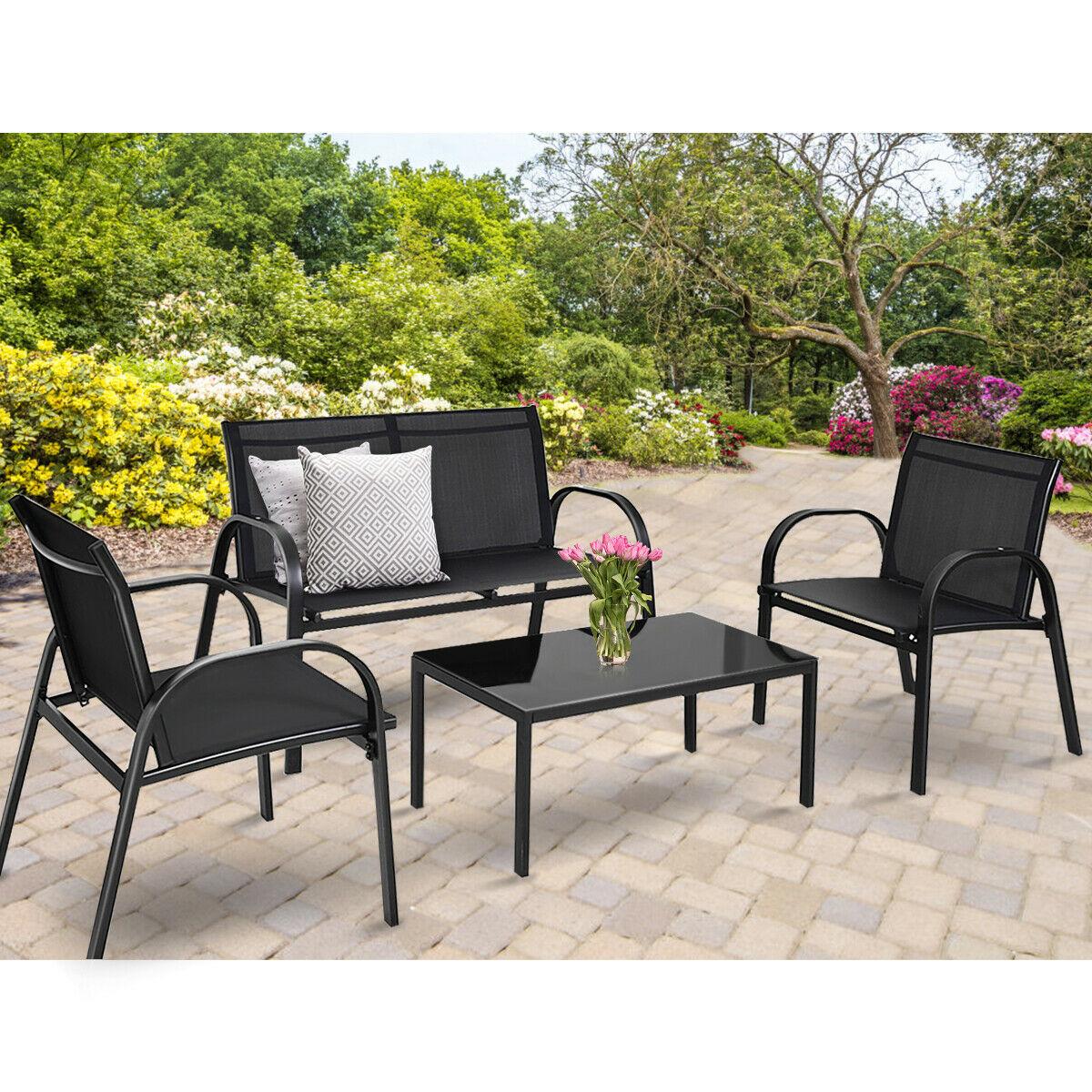 Costway 4 Pcs Patio Furniture Set Sofa Coffee Table Steel Frame Garden Deck Black Walmart for proportions 1200 X 1200