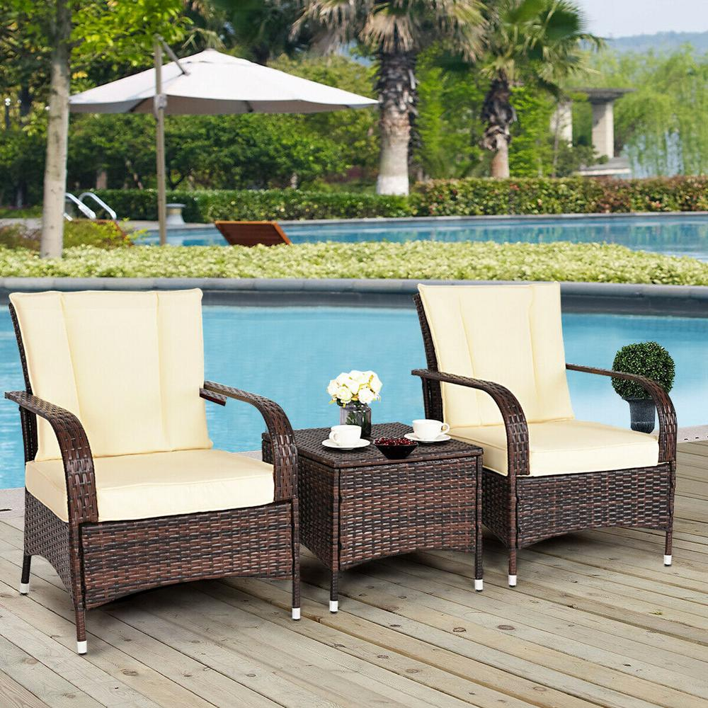 Costway Mix Brown 3 Piece Rattan Wicker Outdoor Furniture Patio Conversation Set With Beige Cushions with regard to size 1000 X 1000