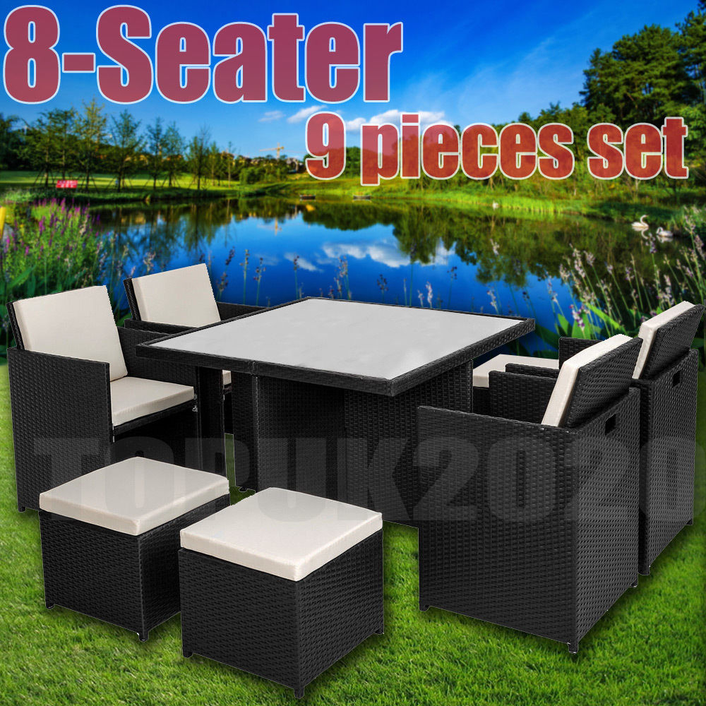 Cube Rattan Garden Furniture Set Chairs Sofa Table Outdoor Patio 8 Seater in proportions 1000 X 1000