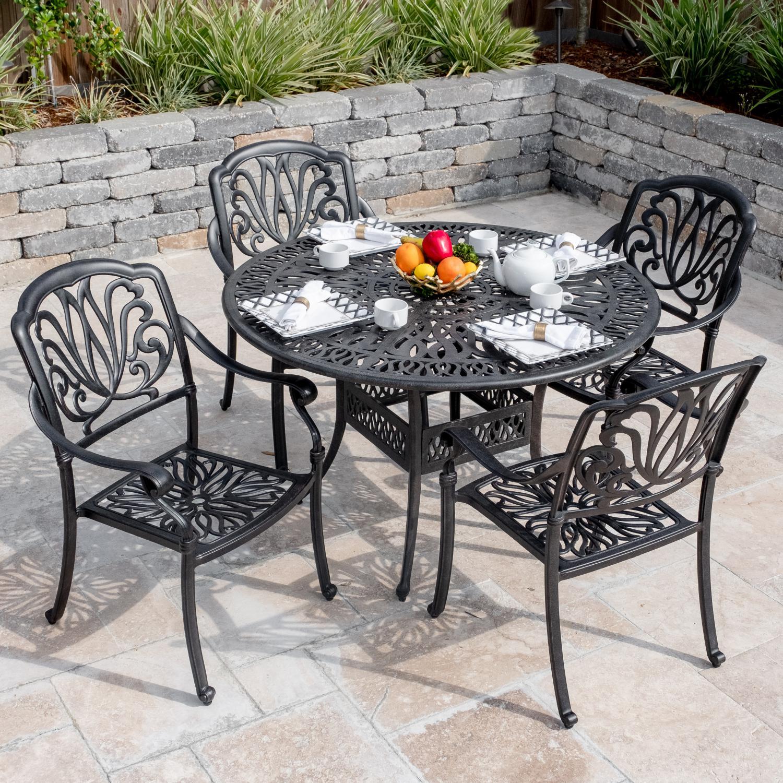 Darlee Roxbury 5 Piece Cast Aluminum Patio Dining Set W 48 pertaining to dimensions 1500 X 1500