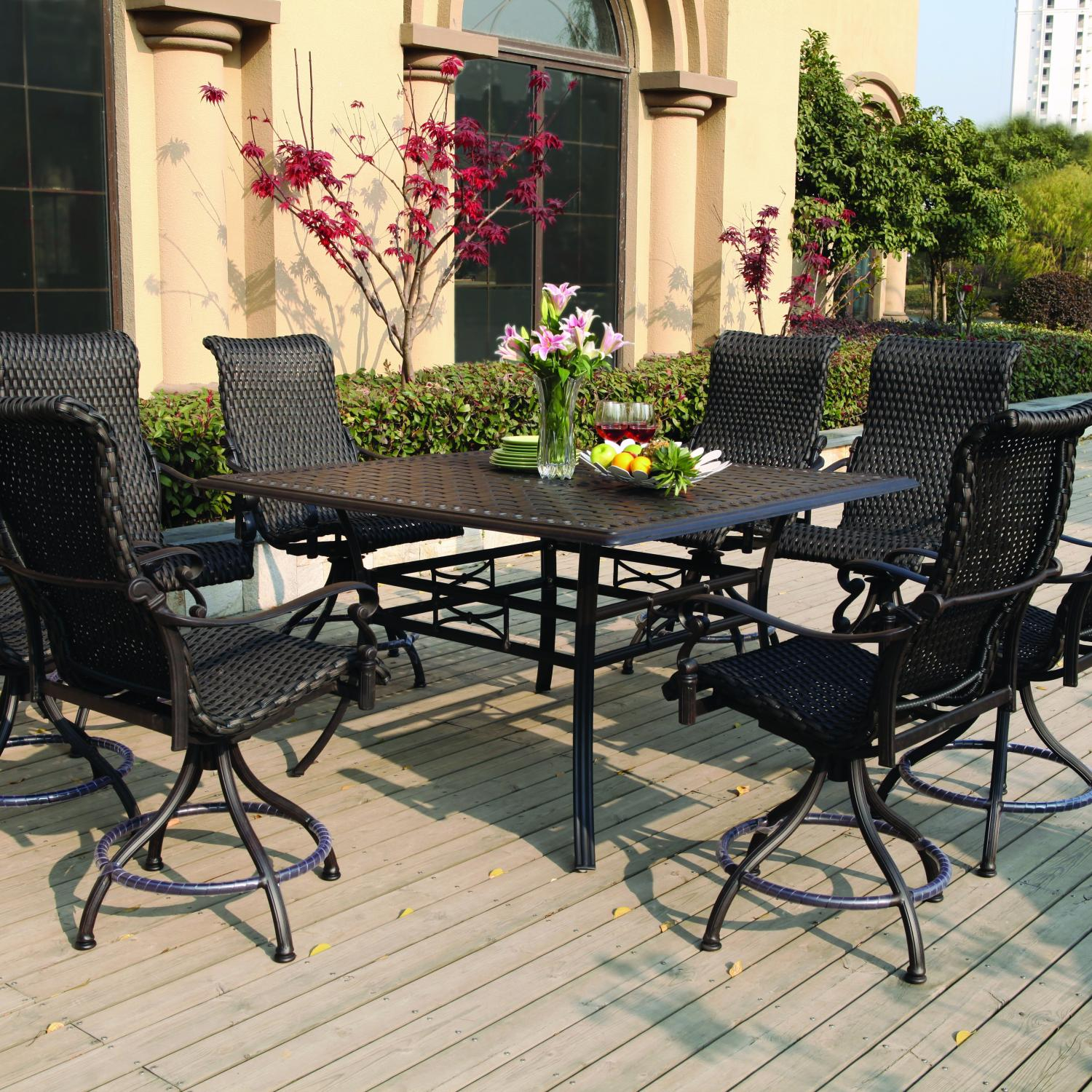 Darlee Victoria 9 Piece Resin Wicker Counter Height Patio Dining Set With Swivel Chairs with regard to proportions 1500 X 1500