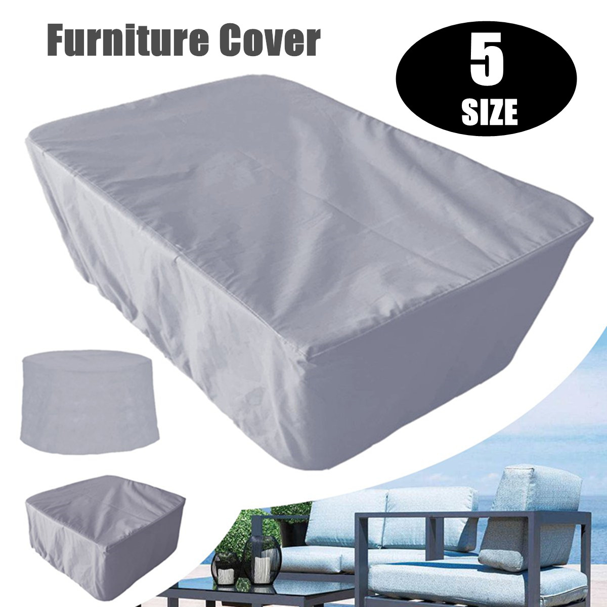Details About 5 Size Gray Waterproof Garden Patio Furniture Cover Outdoor Shelter U within measurements 1200 X 1200