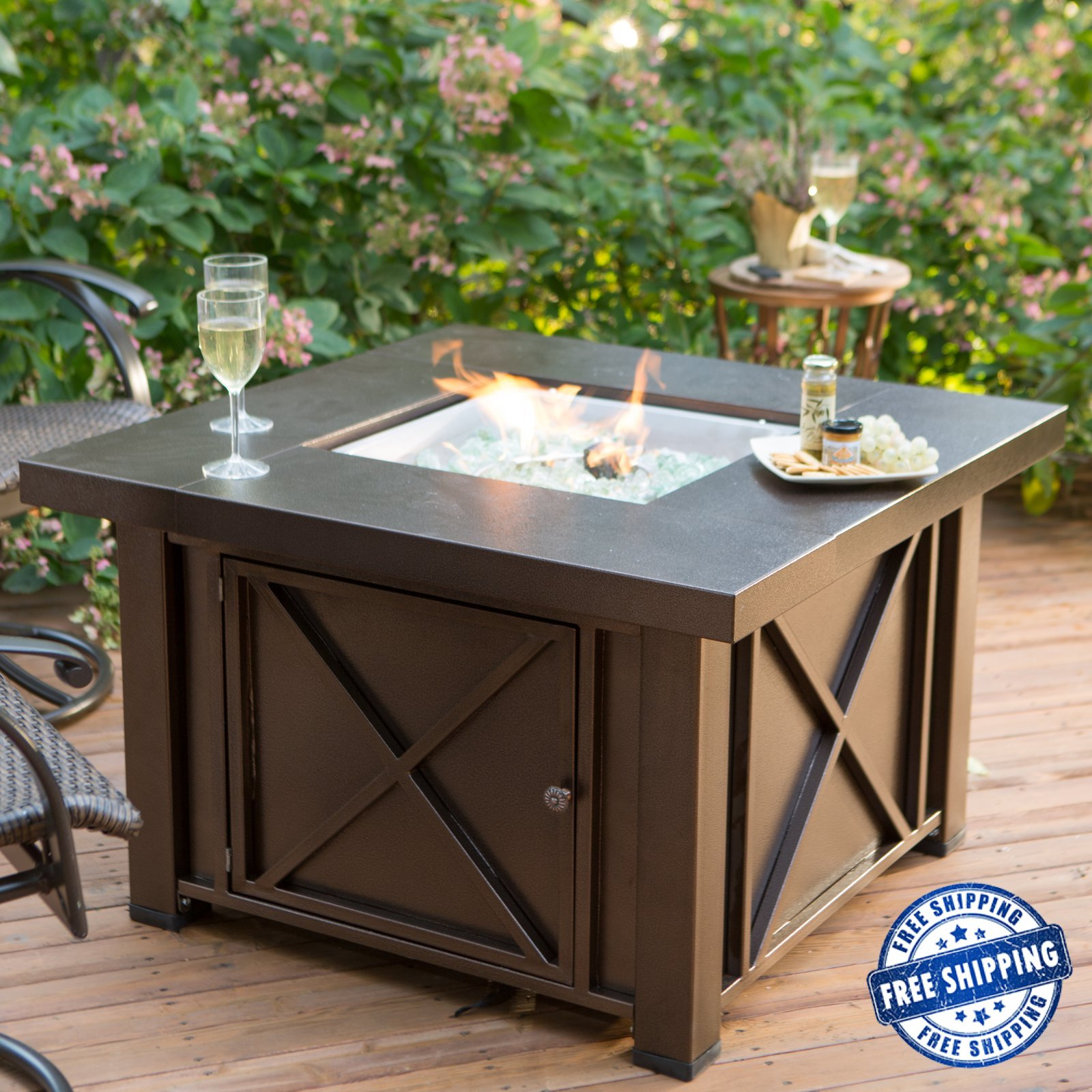 Details About Fire Pit Table Outdoor Propane Gas Patio Heater Furniture Fireplace Backyard for proportions 1600 X 1600