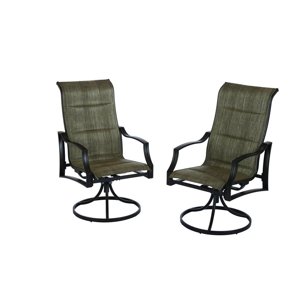 Details About Hampton Bay Patio Dining Chair Statesville Padded Sling Swivel Seat 2 Pack regarding sizing 1000 X 1000
