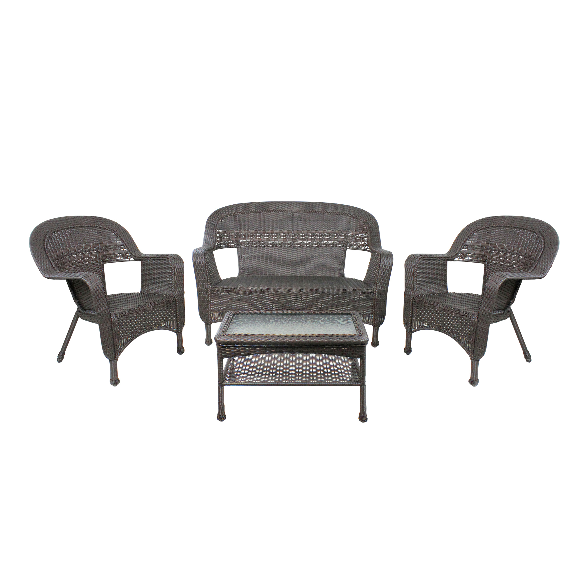 Details About Northlight 4pc Brown Wicker Outdoor Patio Furniture Set Loveseat 2 Chairs Table regarding size 2000 X 2000
