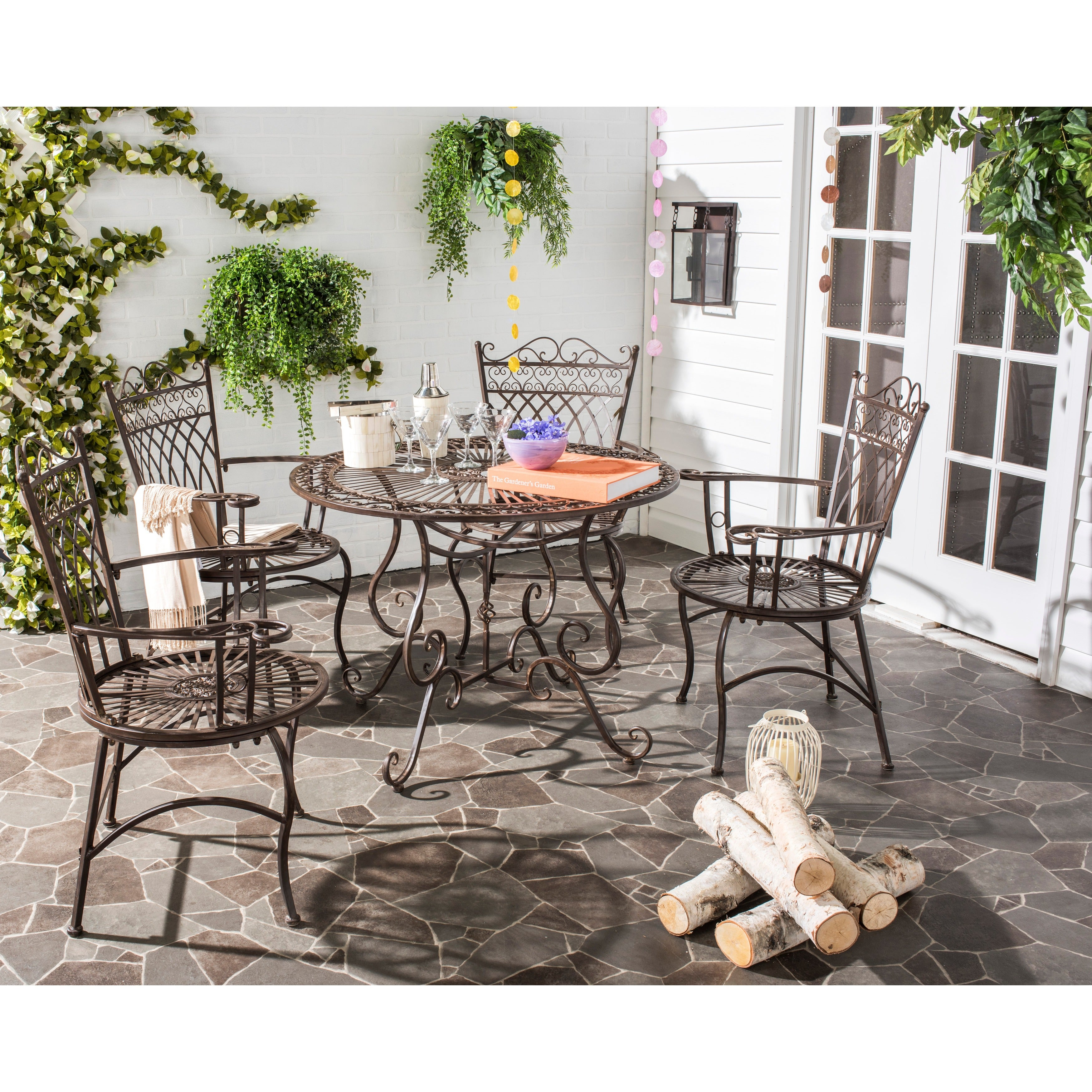 Details About Outdoor Dining Set 5 Table Chairs Vintage Rustic Wrought Iron Patio Furniture throughout dimensions 3500 X 3500