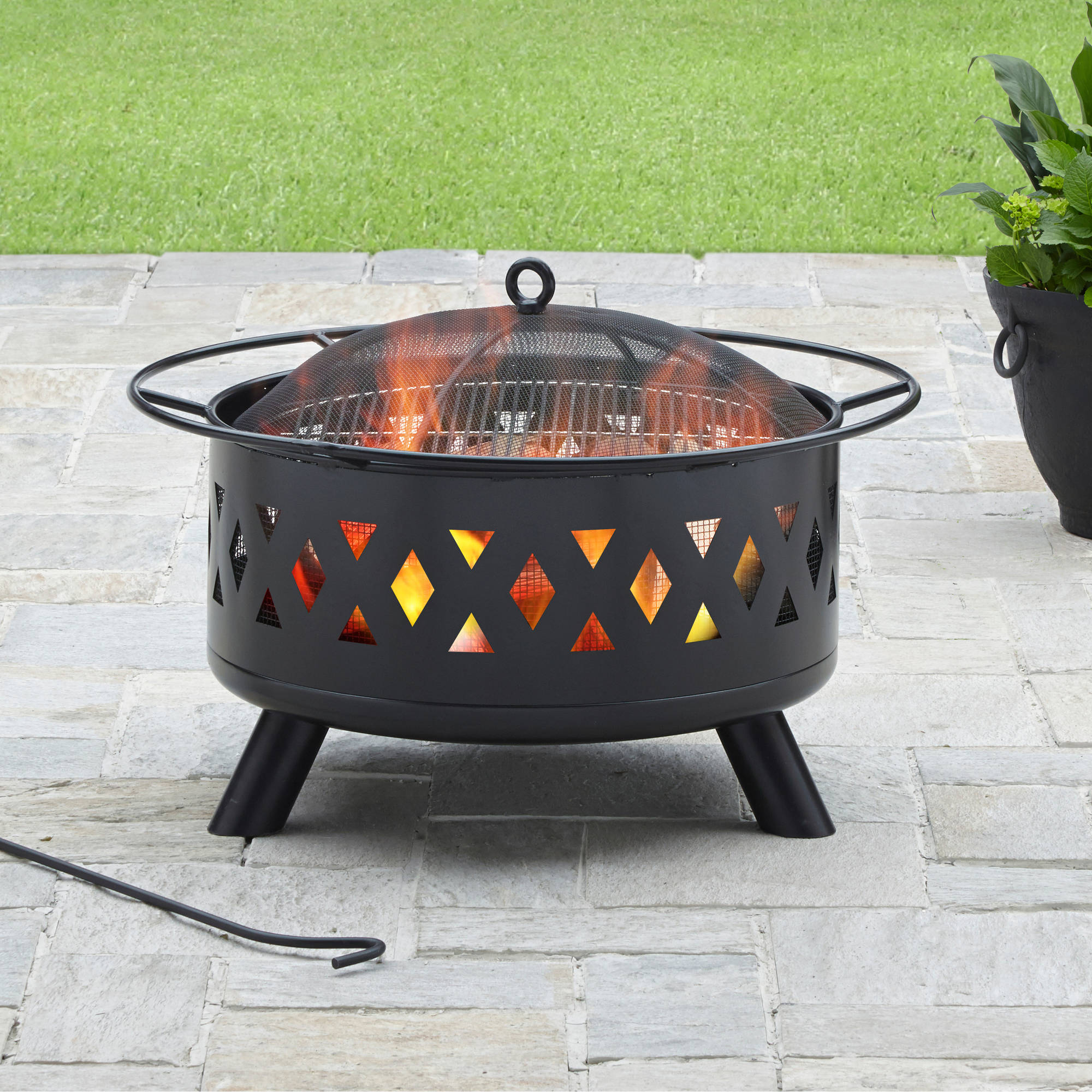Details About Outdoor Fire Pit Patio Deck Garden Yard Heater Black Steel Wood Fireplace Grill regarding size 2000 X 2000