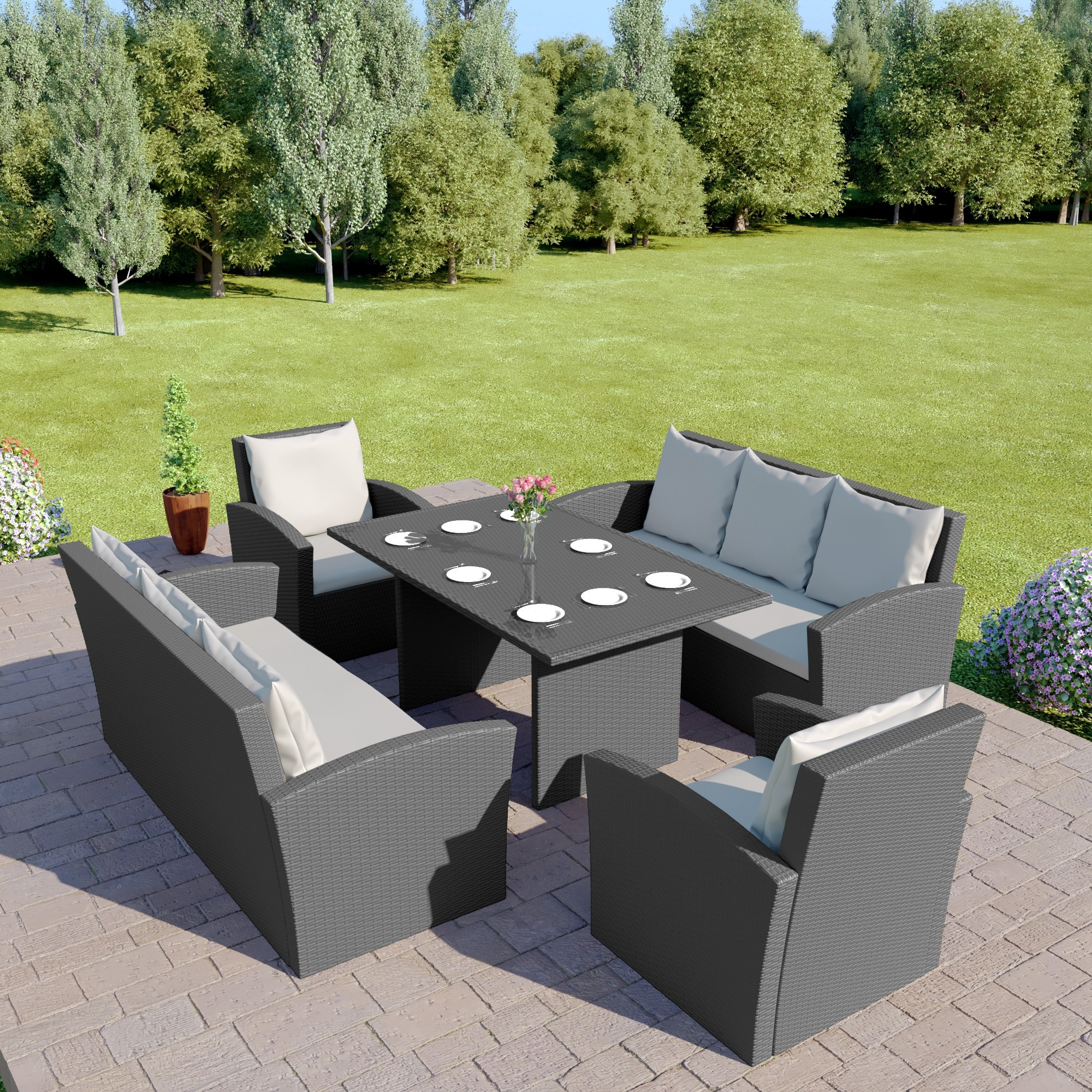 Details About Rattan Garden Dining Table Furniture Patio Set 8 Seat Sofa Black Grey Brown pertaining to sizing 2000 X 2000