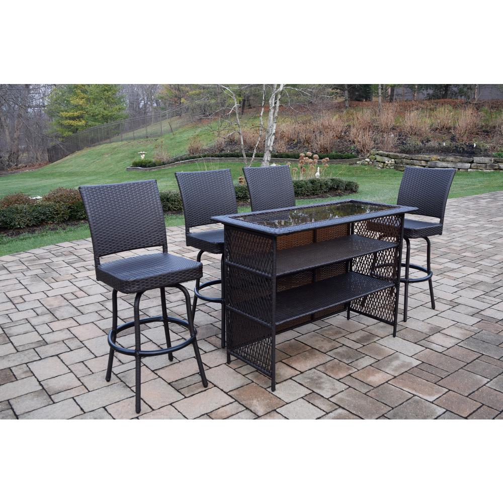 Elite 5 Piece Wicker Outdoor Bar Height Dining Set with dimensions 1000 X 1000