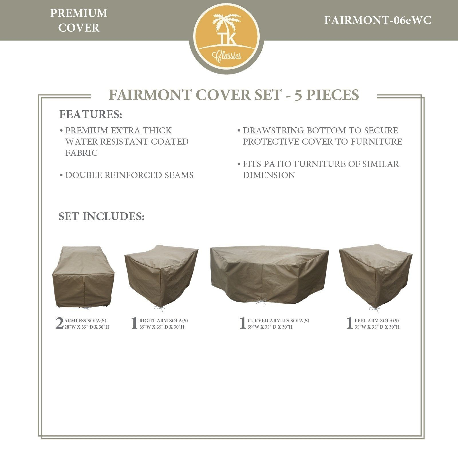 Fairmont 06e Protective Cover Set Tie Beige Tk Classics for sizing 1600 X 1600