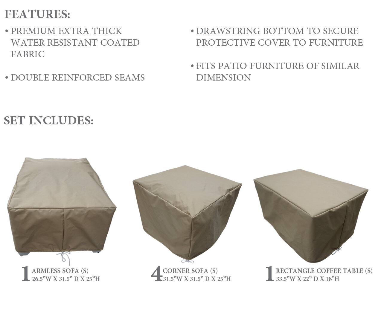 Fernando Protective 6 Piece Water Resistant Patio Furniture Cover Set in size 1264 X 1056