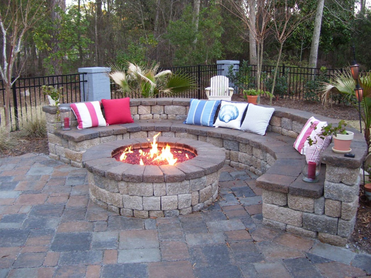 Fire Pit Fence Patio Backyard Exterior Near Stone Bench pertaining to dimensions 1280 X 960