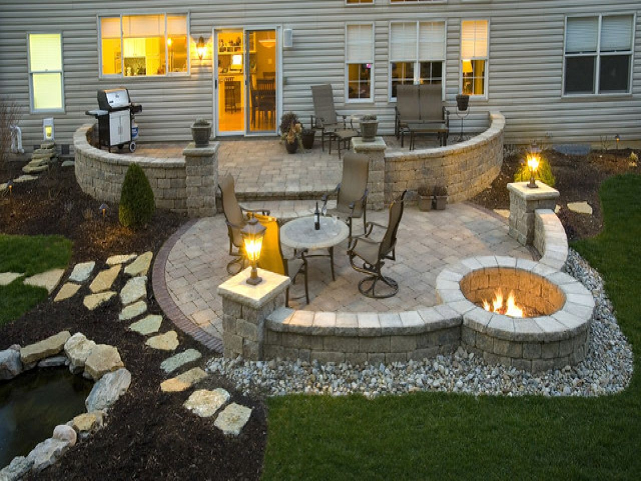Flagstone Patio With Fire Pits Size 1280x960 Patio With in sizing 1280 X 960