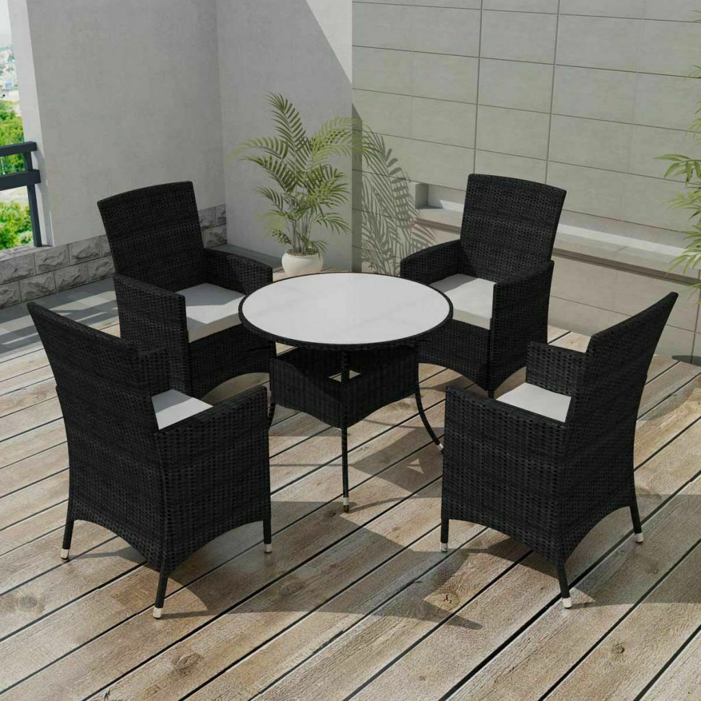 Garden Dining Set 9 Pieces Wicker Poly Rattan Outdoor Patio for sizing 1024 X 1024