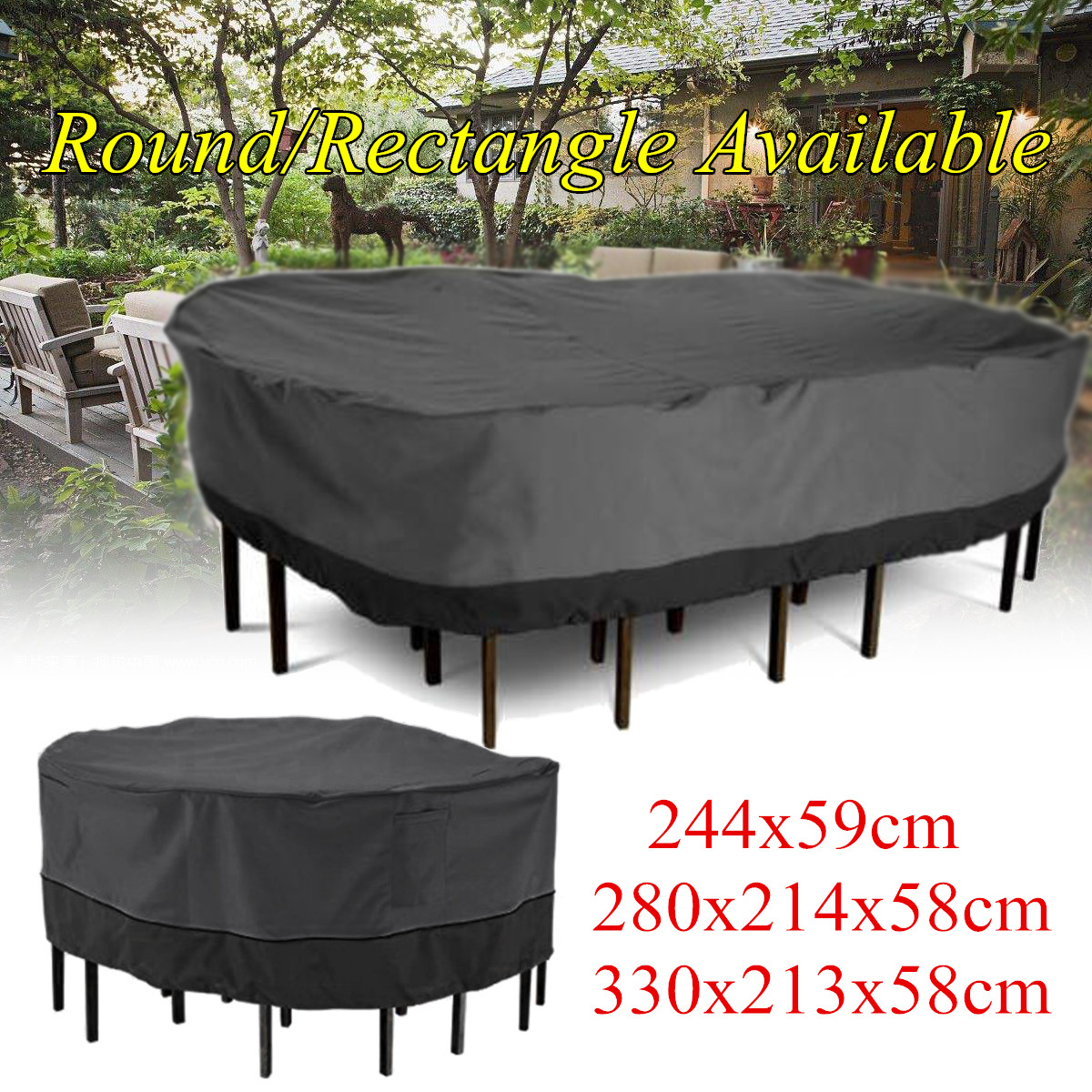 Garden Patio Furniture Cover Black Polyester Table within size 1200 X 1200