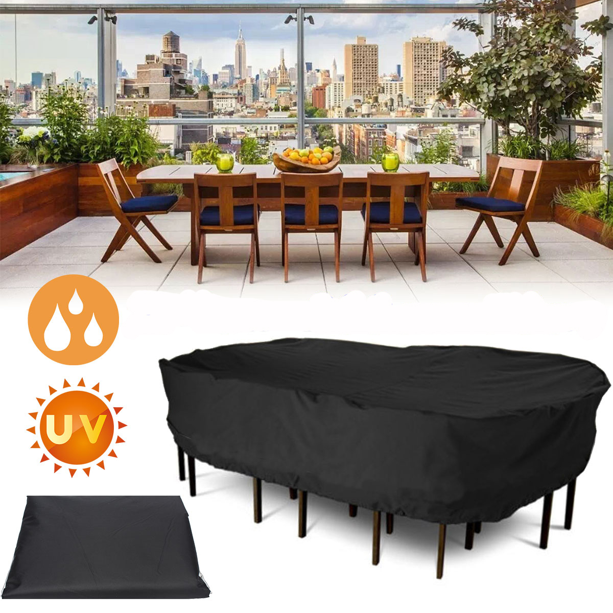 Garden Patio Furniture Winter Cover Waterproof Large Rectangular Table Chair Covers throughout dimensions 1200 X 1200