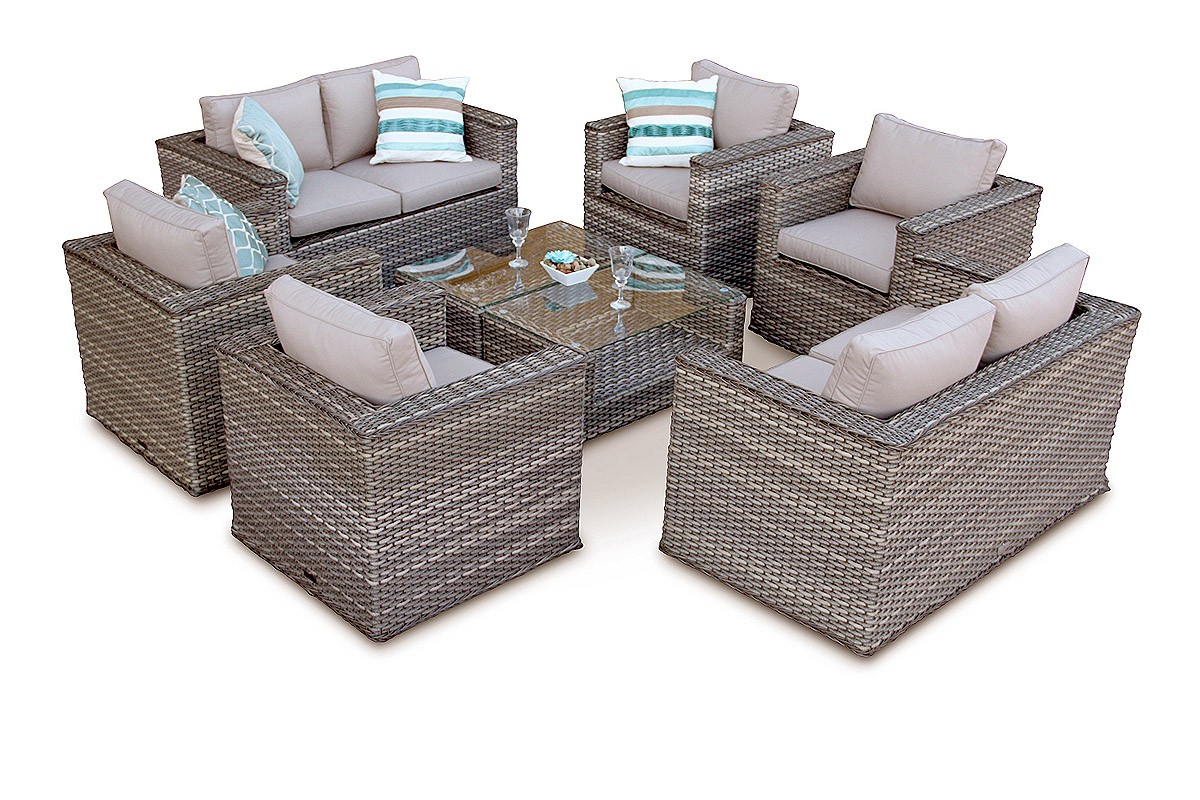 Grand Bahia 8pc Rattan Garden Sofa Set Natural for size 1200 X 800