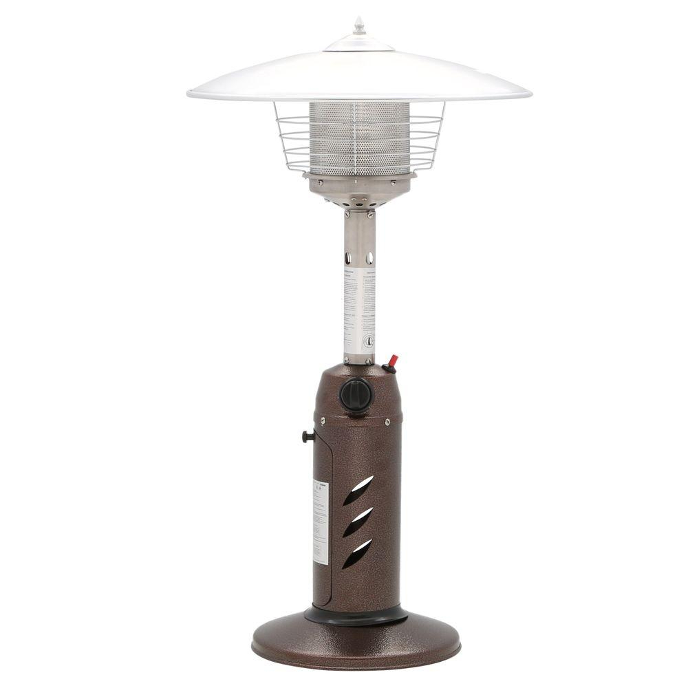 Hampton Bay 11000 Btu Powder Coated Bronze Tabletop Propane Patio Heater with dimensions 1000 X 1000