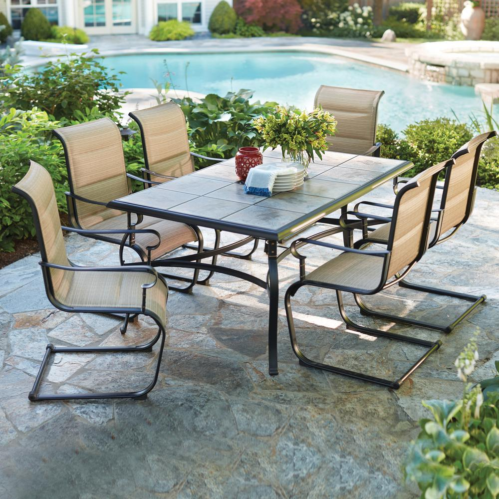 Hampton Bay Belleville 7 Piece Padded Sling Outdoor Dining Set with proportions 1000 X 1000