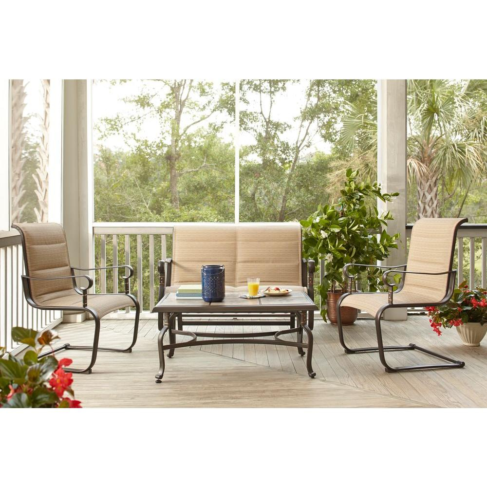 Hampton Bay Belleville Padded Sling 4 Piece Patio Seating Set intended for proportions 1000 X 1000