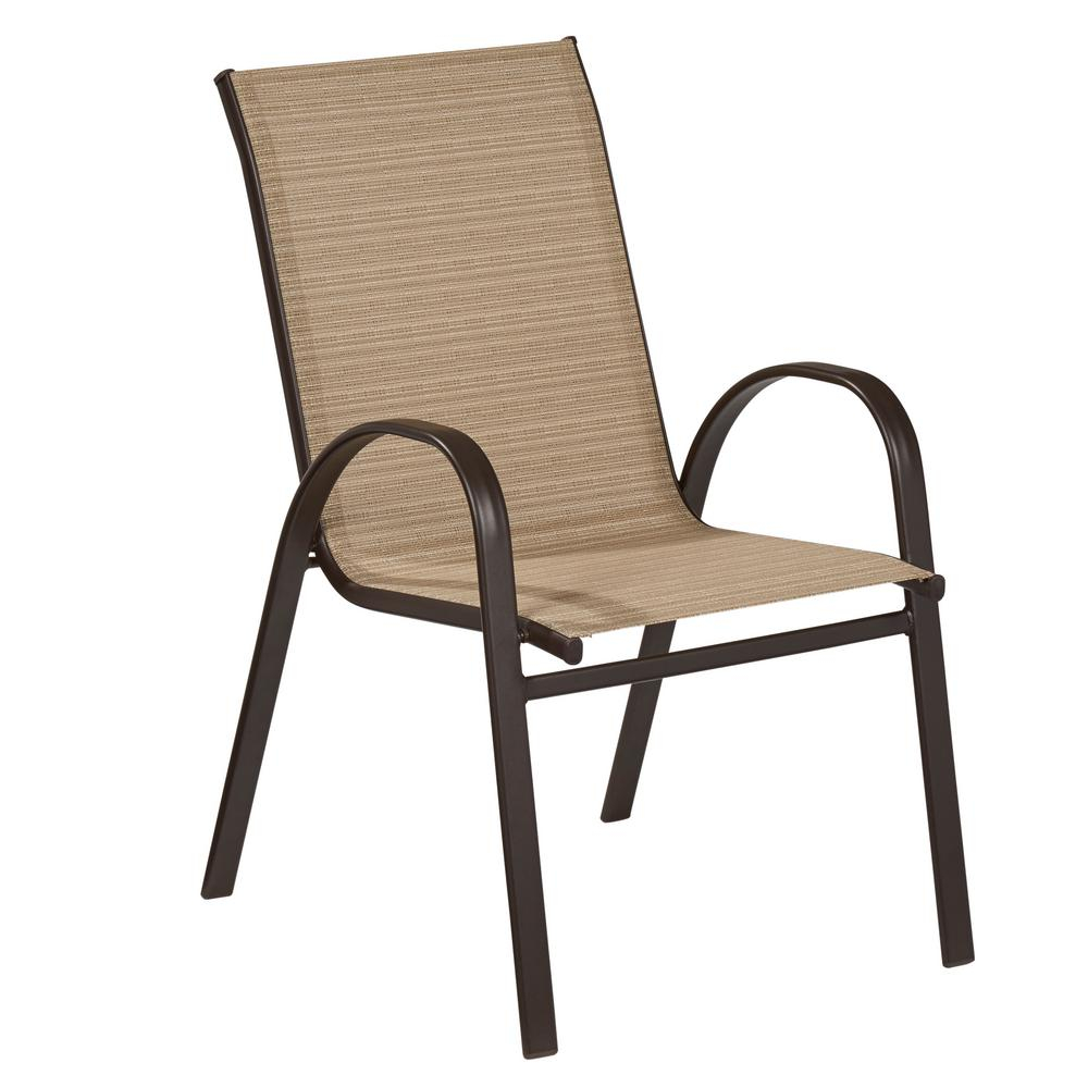 Hampton Bay Mix And Match Stackable Sling Outdoor Dining Chair In Cafe regarding dimensions 1000 X 1000