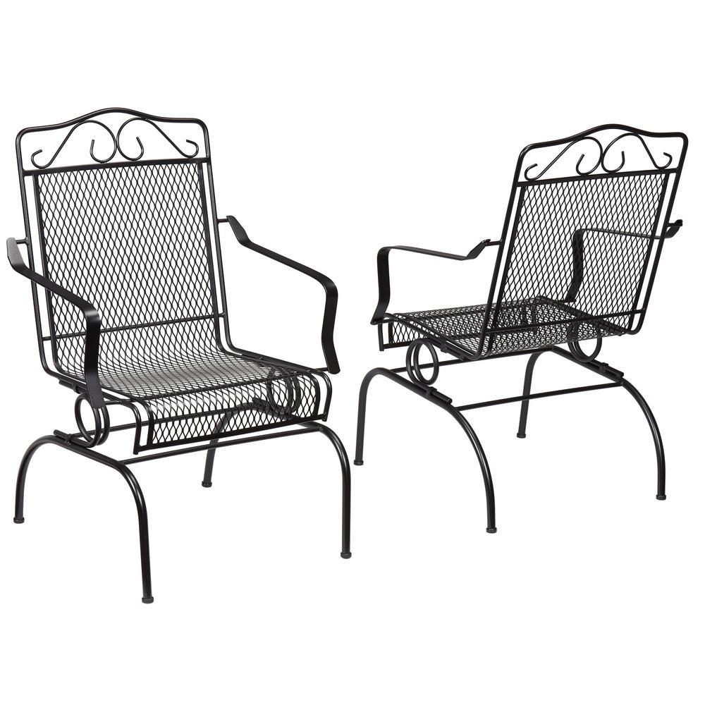 Hampton Bay Nantucket Rocking Metal Outdoor Dining Chair 2 Pack inside proportions 1000 X 1000
