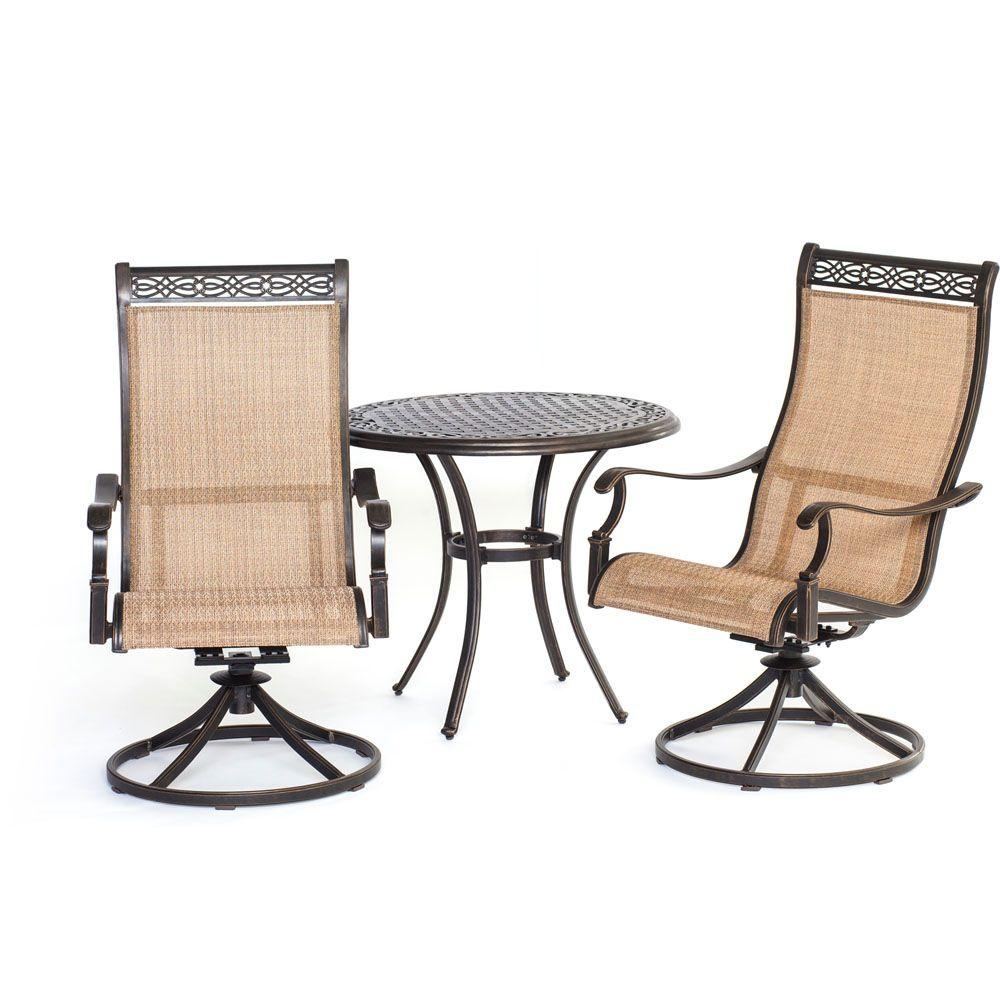 Hanover Manor 3 Piece Round Patio Bistro Set With Sling Back Swivel Chairs in dimensions 1000 X 1000