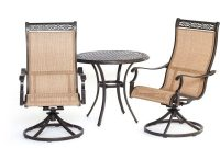 Hanover Manor 3 Piece Round Patio Bistro Set With Sling Back Swivel Chairs with regard to sizing 1000 X 1000