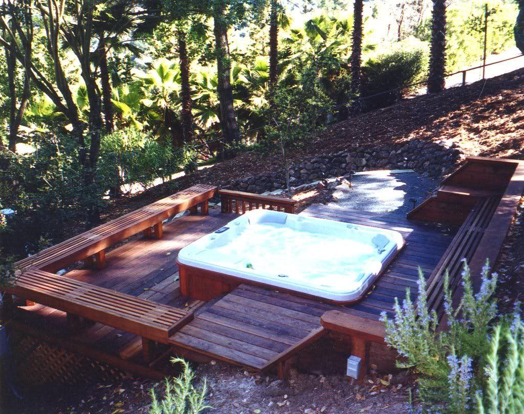 Hillside Deck Spa Hot Tub Landscaping Hillside Deck with dimensions 1024 X 809