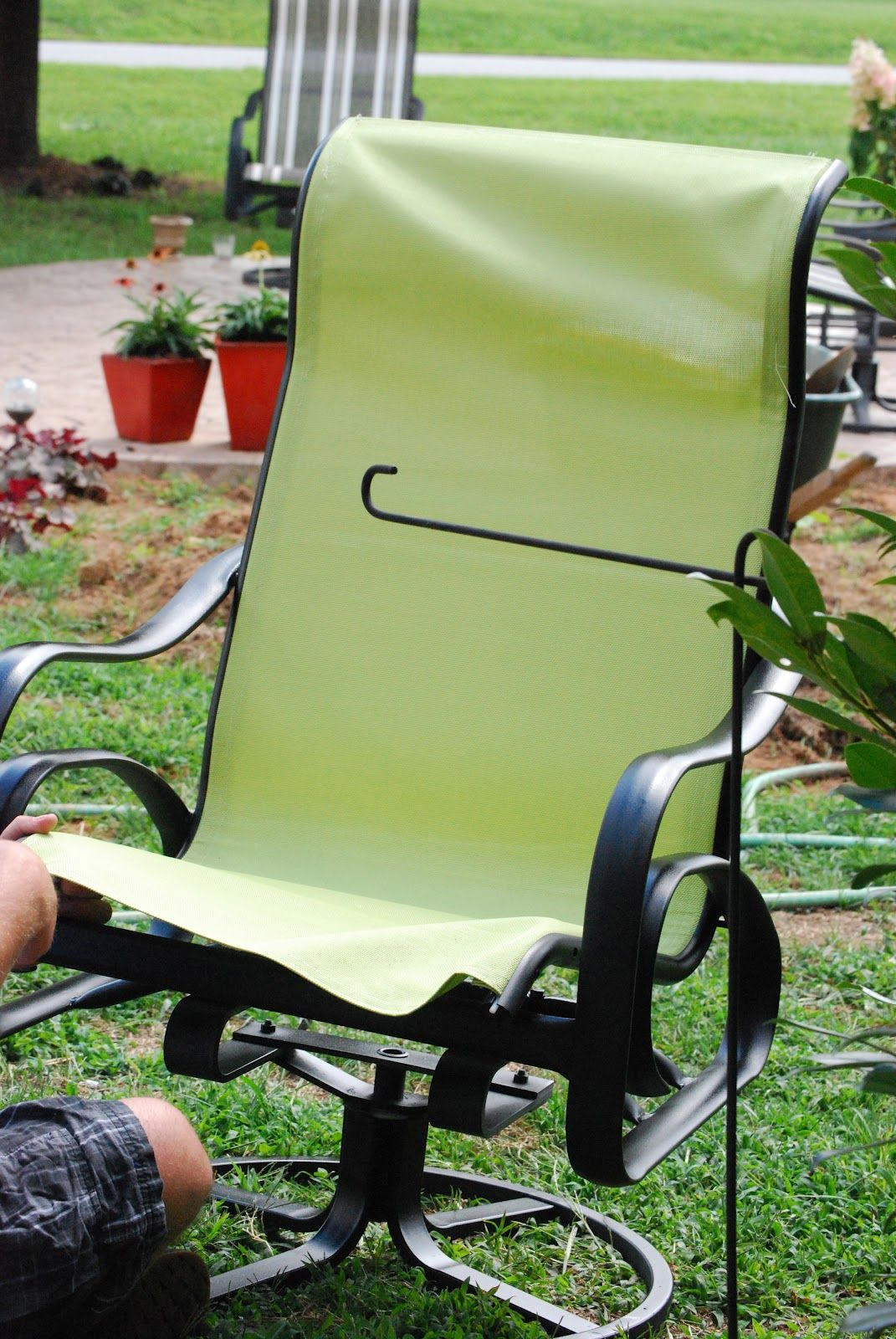 I Recovered Sling Back Chairs That Were Given To Me Easy intended for measurements 1071 X 1600