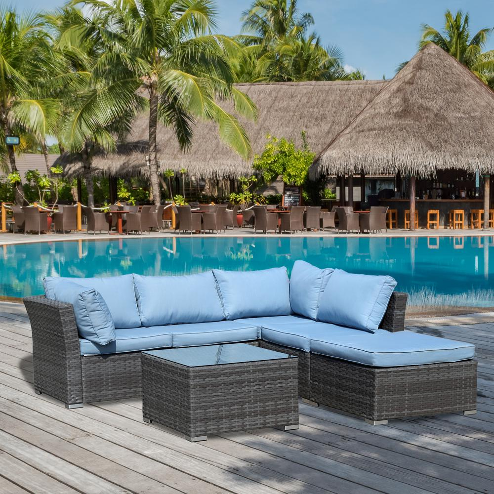 Jicaro Gray 5 Piece Wicker Outdoor Sectional Set With Light Blue Cushions intended for sizing 1000 X 1000