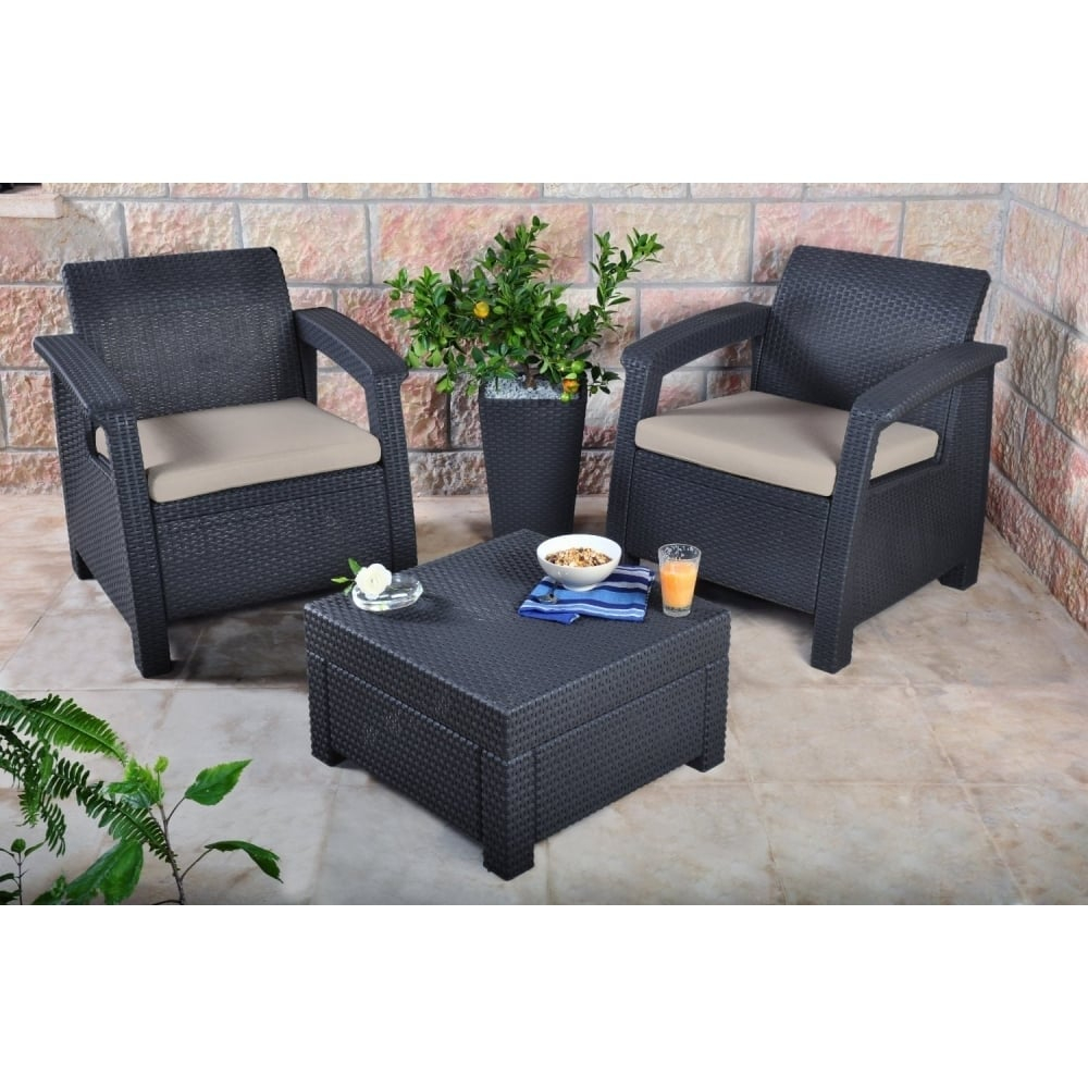 Keter Corfu 2 Seater Balcony Set Plastic Rattan for proportions 1000 X 1000
