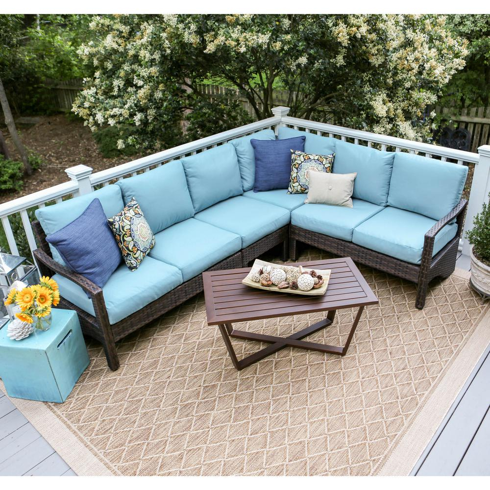 Leisure Made Augusta 5 Piece Wicker Outdoor Sectional Set With Blue Cushions in size 1000 X 1000