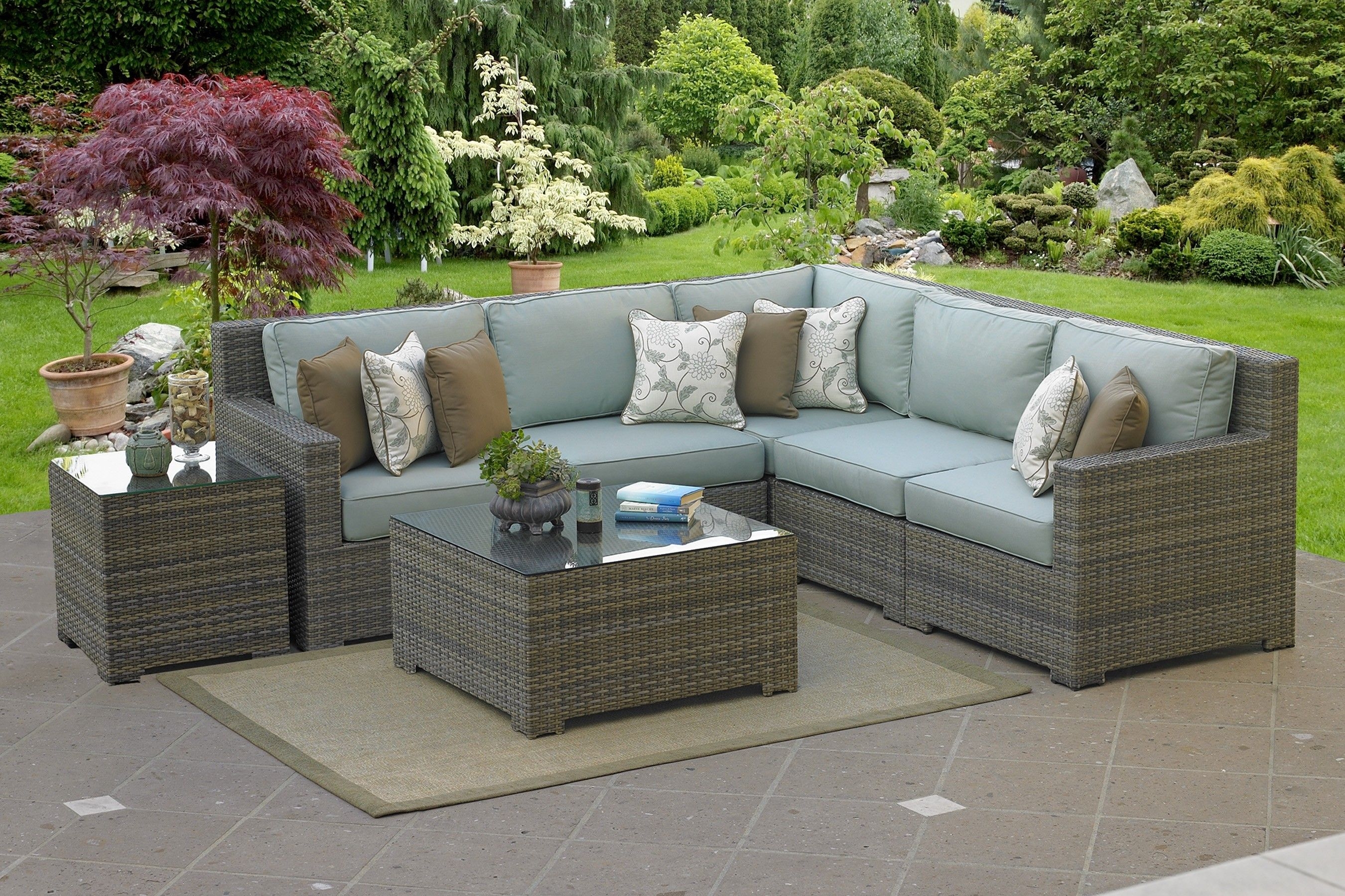 Malibu High Back 5 Pc Outdoor L Sectional 90 Degree Teak with regard to sizing 2700 X 1800