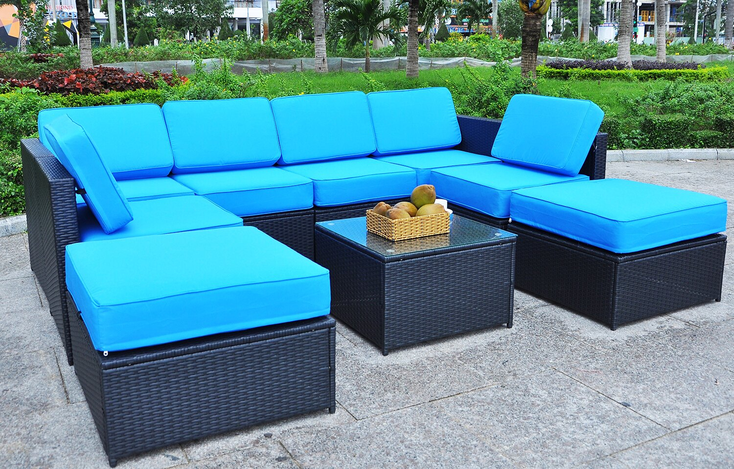 Mcombo Black Wicker Patio Sofa Steel Outdoor Patio Furniture Sectional All Weather Light Weight Conversation Set With 512thickness Cushions inside dimensions 1500 X 958