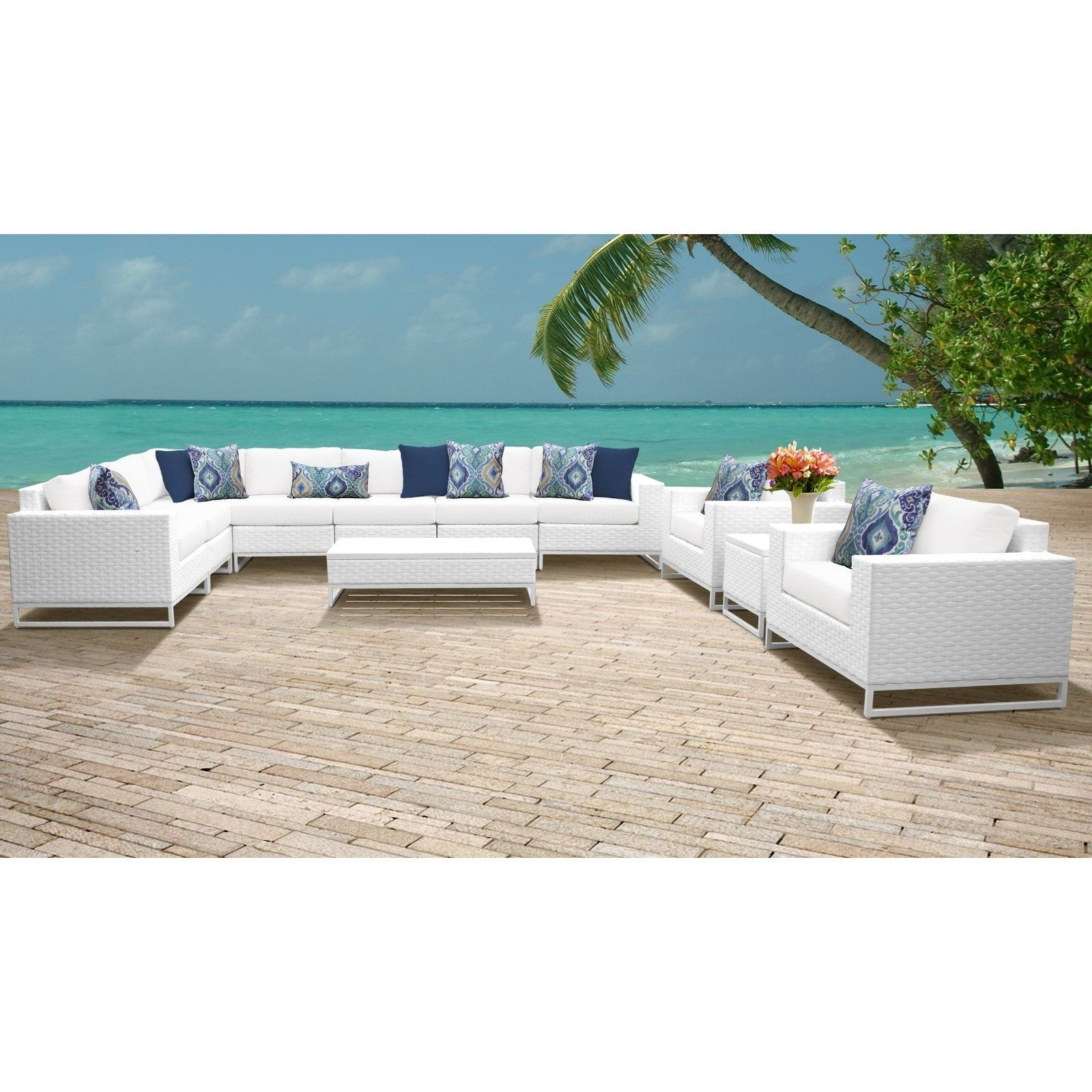 Miami 11 Piece Outdoor Wicker Patio Furniture Set 11a White with regard to proportions 1600 X 1600