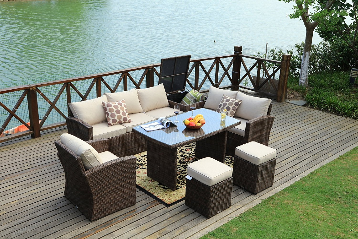 Mulan Brown Outdoor Patio Furniture Conversation Set 7 Piece intended for measurements 1500 X 1000
