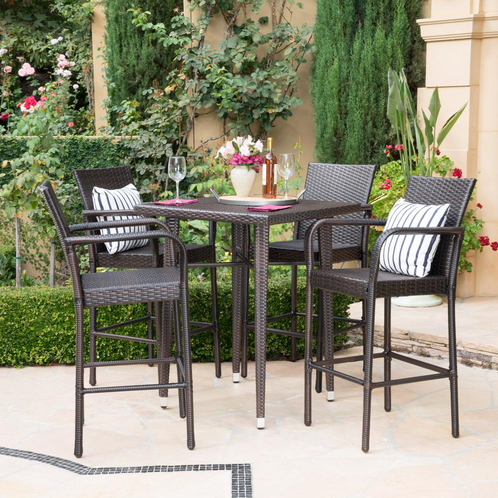 Noble House Multi Brown 5 Piece Wicker Square Outdoor Bar Height Dining Set for measurements 1000 X 1000